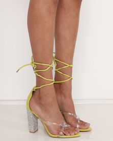 Public Desire Anda Diamante Heels Yellow