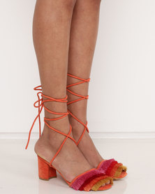 Public Desire Beach Fringe Mid Heels Orange