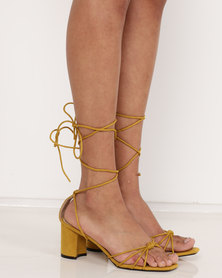 Public Desire Breeze Mid Heel Sandals Yellow