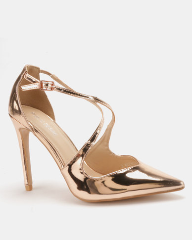 Public Desire Chapelle Cross Strap Court Rose Gold