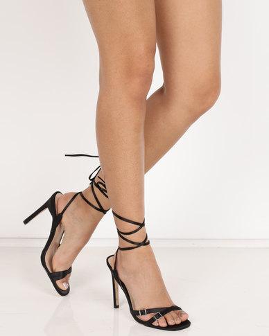 Public Desire Contour Heel Sandals Black
