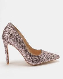 Public Desire Debbie Glitter Court Heels Light Pink