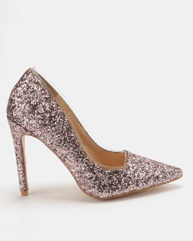 Public Desire Debbie Glitter Court Heels Light Pink  0fe5e6d5d