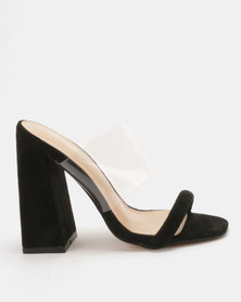 Public Desire Dinah Perspex Heeled Mules Black
