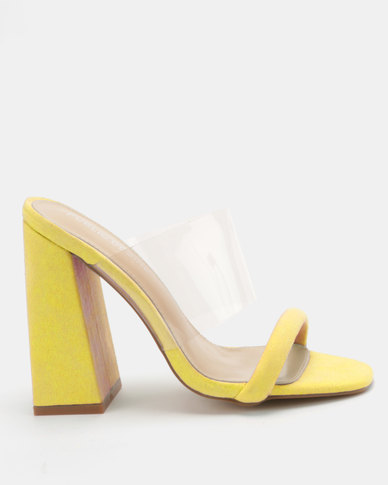 Public Desire Dinah Perspex Heeled Mule Yellow