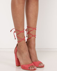 Public Desire Frenchie Block Heels Coral