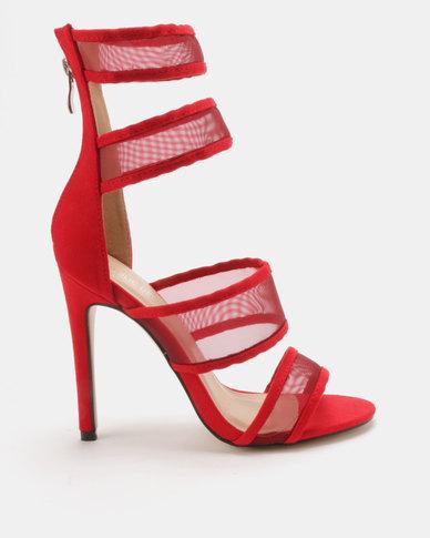 Public Desire Lexi Mesh Strap Heels Red