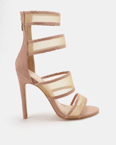 16f148068daf Public Desire Lexi Mesh Strap Heels Dusty Pink