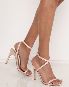 Public Desire Notion Square Toe Barely There Heels Peach