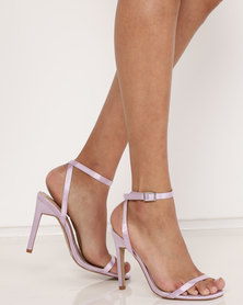 Public Desire Notion Square Toe Barely There Heels Lilac