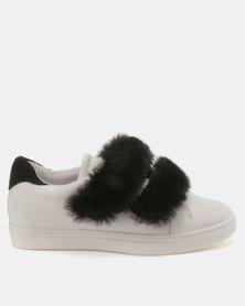 Public Desire Marise Faux Fur Sneakers White