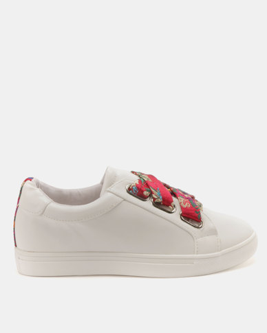 Public Desire Polka Sneakers White with Pink Brocade Pink/White