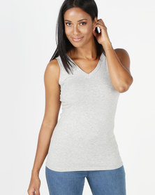 Michelle Ludek V-Neck Tank Top Grey