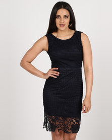 Revenge Lace Detail Dress Navy