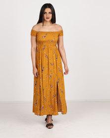 Revenge Off Shoulder Printed Dress Mustard