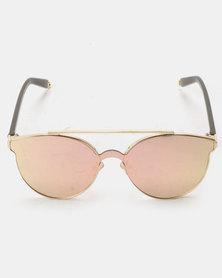 916f8bf4dd1 You   I Oversized Double Bar Sunglasses Tan Rose Gold