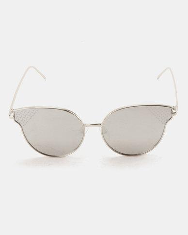 You & I Oversized Metal Cat Eye Sunglasses Silver