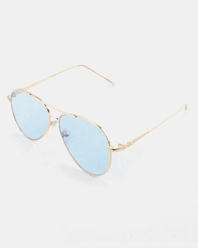 You & I Classic Aviator Sunglasses Tinted Blue