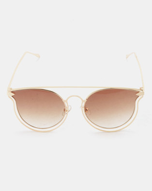 f4457e3e466 You   I Metal Cateye Sunglasses Gradient Brown