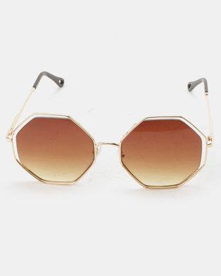 4f447e81b5f You   I 70s Hexagon Sunglasses Gradient Brown