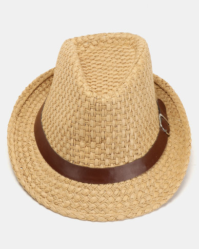 Joy Collectables Straw Fedora Hat Tan  43a52155040