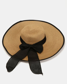 Joy Collectables Tiffiny Bow Straw Hat Tan