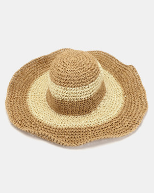 Joy Collectables Two Tone Floppy Straw Hat Brown 2b0f79940b8c