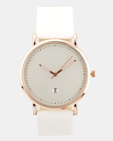 Joy Collectables Faux Leather Watch White