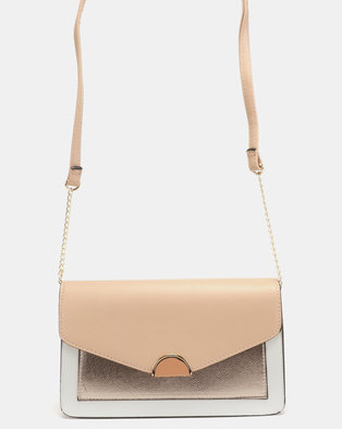New Look Gusset Clutch Bag White/Rose