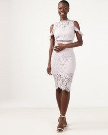 AX Paris Lace Cold Shoulder Midi Dress Lilac