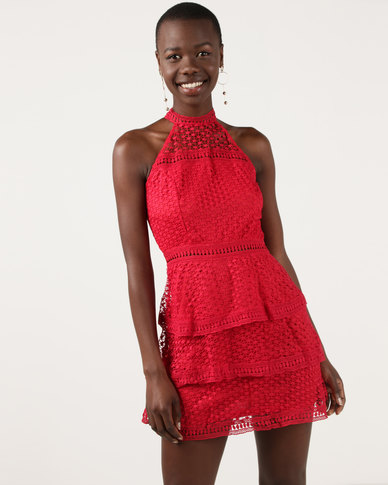 AX Paris Crochet Choker Neck Dress Red