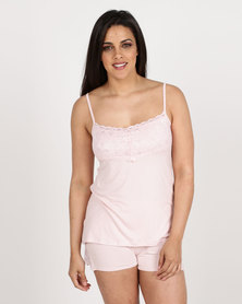 Poppy Divine Viscose Strappy Top With Lace Trim Rose