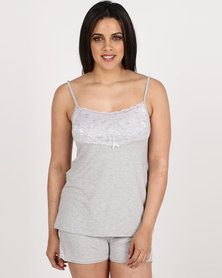 Poppy Divine Viscose Strappy Top With Lace Trim Grey Melange