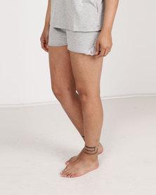 Poppy Divine Viscose Short With Lace Trim Grey Melange