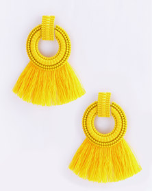 Miss Maxi Statement Tassel Earrings Yellow