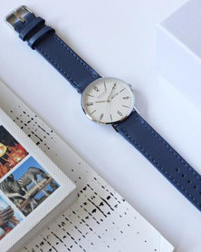 Escape Society Dial and Strap Watch Silver/Mauve Blue