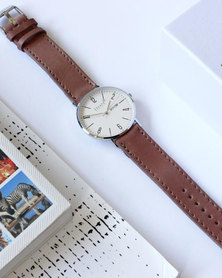 Escape Society Dial and Strap Watch Silver/Rose Pink