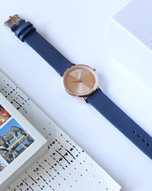 Escape Society Strap Watch Rose Gold/Mauve Blue