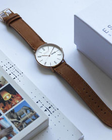 Escape Society Gold Dial and Strapped Watch Tan
