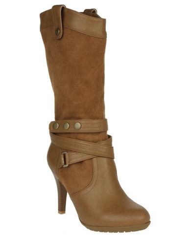 934ac37759a6 Betsy Stud Strap Mid-Calf Boot Tan