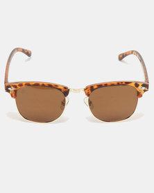 Escape Society Tortoise Polarised Clubmaster Sunglasses Gold-Tortoise Shell