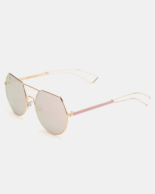 1145bbca03 Escape Society Flat Brow Round Lens Aviator Sunglasses Pink Gold