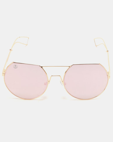 Escape Society Flat Brow Round Lens Aviator Sunglasses Pink/Gold