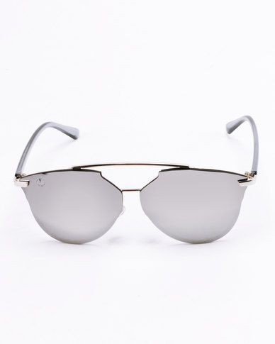 Escape Society Rimless Mirror Aviator Sunglasses Silver