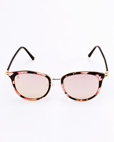 Escape Society Cat Clubmaster Sunglasses Rose Gold/Floral