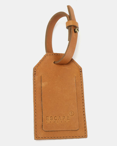 Escape Society Basic Full Grain Leather Luggage Tag Tan