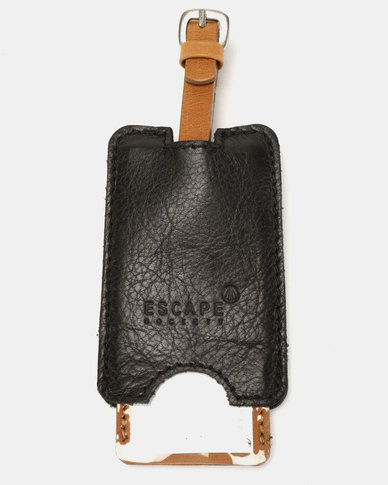 Escape Society Peep-Out Full Grain Leather Luggage Tag Black