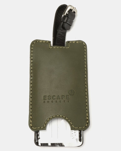 Escape Society Peep-Out Full Grain Leather Luggage Tag Olive Green