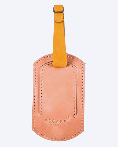 Escape Society Peep-Out Full Grain Leather Luggage Tag Pink