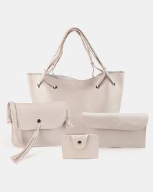 Utopia 4 Piece Handbag Set Taupe